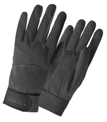 Hunting Filson utilizes it's legendary quality and craftsmanship to deliver superior sensitivity and dexterity in these shooting gloves. Water-resistant and breathable Aquatec fabric on the palms, fingers and thumbs provides exceptional grip in wet or dry conditions. Polyester mesh backs keep your hands comfortable in warmer weather. Elastic wrist cuffs with Velcro closures ensure a snug, comfortable fit. Machine washable. Imported.Sizes: S-XL.Colors: Black, Green. Type: Gloves. Size: Medium. Camo Pattern: BLACK. Size Medium. Color Black. - $55.00
