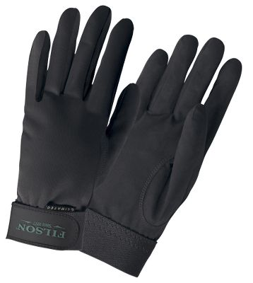 Hunting Filson utilizes it's legendary quality and craftsmanship to deliver superior sensitivity and dexterity in these cool-weather shooting gloves. Water-resistant and breathable Aquatec fabric on the palms, fingers and thumbs provides exceptional grip in wet or dry conditions. Climatec thermal stretch fabric on the backs insulates and protects your hands during cold-weather hunts. Elastic wrist cuffs with Velcro closures ensure a snug, comfortable fit. Machine washable. Imported.Sizes: S-XL.Colors: Black, Green. - $60.00