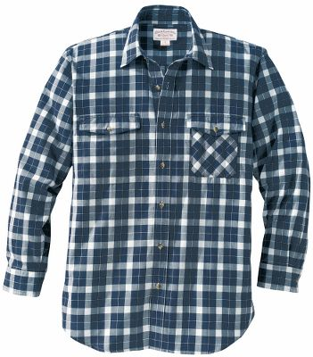 Guns and Military Take on your daily adventures in style with a classic plaid shirt from Filson. Featuring a distinct look and feel that only Filson can deliver, this shirt brings you comfort and quality that lasts a lifetime. Two chest button pockets, with additional four-slot utility pocket on left chest. 100% cotton. Imported.Sizes: S-3XL.Colors: Navy/Cream, Red/Cream, Green/Cream (not shown). - $85.00