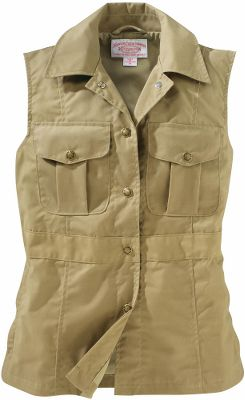 Guns and Military Own the very best in outdoor clothing from Filson, the name synonymous with uncompromising craftsmanship and long-wearing comfort. This vest is made of water-resistant oil-finished cotton Cover Cloth thats washable for versatility during your travels. A smooth 65/35 cotton/polyester lining ensures easy on and off over layers. Filson's signature pockets and zippered handwarmer pockets offer convenient places to store a passport and other travel essentials. Made in USA.Center back length for size Medium: 24-3/4.Sizes: XS-XL.Colors: Tan, Navy. - $185.00