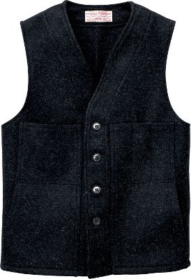 Hunting Simple and classic in design, this 24-oz. 100% virgin Mackinaw wool vest is warm, versatile and allows complete freedom of movement. Indoors or out, over a shirt or layered under a coat however you wear it, youll enjoy superior warmth without bulk, year-round. Two handwarmer pockets and two open pockets with a slotted left chest pocket. Five-button front closure. Dry-clean only. Made in USA.Center back length: 27.Sizes: 38-54.Colors: Black, Charcoal, Forest Green, Red Black. Type: Vests. Size: 40. Camo Pattern: BLACK. Size 40. Color Black. - $135.00