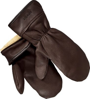 Filsons leather mittens feature a water-resistant finish and warm pile linings with elasticized wrists, sealing out wind and snow. A winged thumb construction allows for better freedom of movement. 2 cuffs. Made in USA.Sizes: S-XL.Color: Dark Brown. - $120.00