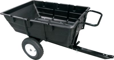 This cart is the perfect solution to hauling items around on your property. Just hook it up to your ATV or UTV and go. For even more convenience, you can fold in the tongue and use it as a push cart. The one-piece design gives it a 300-lb. maximum capacity. 16 stud-tread tires with metal hubs provide traction on loose terrain. The cart also tilts for easy dumping and loading. Molded-in tool caddy. Made in USA. Gender: Male. Age Group: Adult. - $149.99
