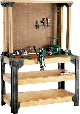 Build your own custom work bench for reloading, house projects or tool and gear storage. You determine the size - just add appropriate 2 x 4 lengths and plywood or particle board to the included legs to make a work bench up to 8' x 4'. Only straight 90 cuts are required. Six shelf links let you add shelves to the bench or use them for a separate shelf system. Each shelf will hold up to 1,000 lbs. Comes with two work clamps and four multi-use hooks. All hardware is included. Lumber not included. - $99.99