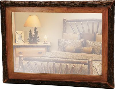 Entertainment Framed with bark-on, kiln-dried hickory, these mirrors are sure to complement any outdoorsmans room. Made to match other Fireside Lodge traditional hickory furniture. Hickory has clear lacquer finish. Made in USA. Available: 32L x 36H 36L x 36H 48L x 36H Color: Clear. Type: Mirrors. - $399.99