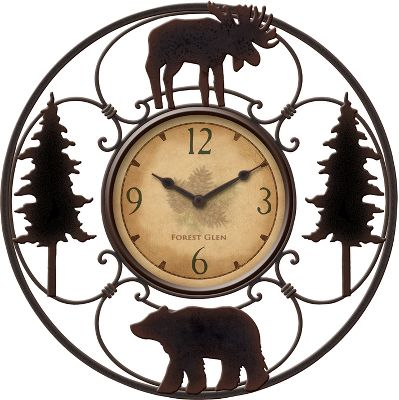 Hunting Nature-inspired wall clock tops off any dcor with its elegant curved-wire designs and metal-silhouetted trees, moose and bear. Dials face features subtle pinecone artwork and easy-to-read numerals. Requires one AA battery (not included). Clock diameter: 11. Face diameter: 5. - $24.99