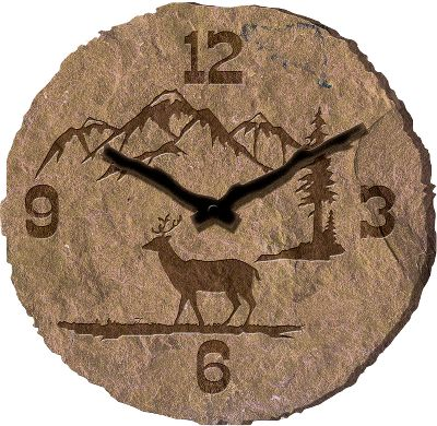 Hunting Unique clock adds natures wonder and carved-in-stone appeal to any dcor. Requires one AA battery (not included). Crafted of sculpted resin.Diameter: 10.5. - $14.88