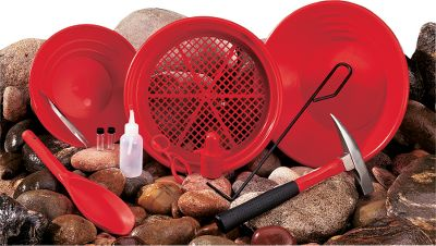 "Camp and Hike This kit has everything a beginner or pro looking to strike it rich will need. You get two red pans(a 10-12"" and a 14""); a classifier for sifting out rocks, artifacts, gems and coins; a pair of 1-oz. shatterproof vials; a snuffer bottle for sucking up the tiniest gold flakes; a Top Hat Sand Magnet to remove unwanted magnetic debris and black sand; a treasure scoop for digging around finds; tweezers to pick up the smallest pieces; a magnifier to inspect your finds; a crevice tool that gets into tight places; a light-duty forged steel rock pick; instructions and a carry pack to hold everything. Color: Gold. Type: Gold Prospecting Kits. - $84.88"