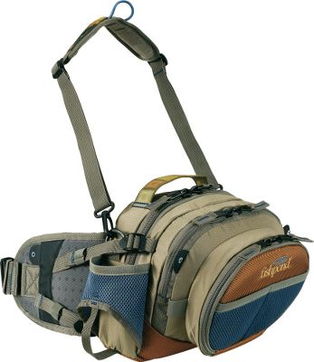 "Fishing A top-notch chest/lumbar pack preferred by professional guides for its exceptional lumbar support. The pack has a signature zip-down workstation. Two generously sized inner main compartments accommodate extra gear and accessories. Adjustable compression strap system. Climbing cord loops for attaching tools and accessories. Padded, breathable airmesh back for added comfort. Two mesh water bottle pockets (bottles not included). Webbing is intricately accented with a variegated Jacquard weave. Imported. Dimensions: 11"" x 7"" x 9.5"".Capacity: 427 cu. in.Color: Barnwood. Type: Chest Packs. - $69.95"