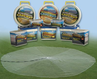 Fishing Constructed of exclusive Japanese monofilament resin netting, this cast net delivers superior strength, yet is softer for better performance. 1 lb. of weight per radial foot sinks the net fast and provides a super-tight bottom seal. Heavy-duty, high-count 90-lb. test braille lines ensure strong, secure closure upon retrieval. Long, high-floating 26-ft. polyethylene throw line is great for deep water and when current is an issue. 3/8 mesh. Best for baitfish 1 to 12+ in length. For depths up to 16 ft. Available in five sizes (measured in net radius). Sizes: 4-ft., 5-ft., 6-ft. and 7-ft. Size: 4' 3. Type: Casting Nets. - $32.99