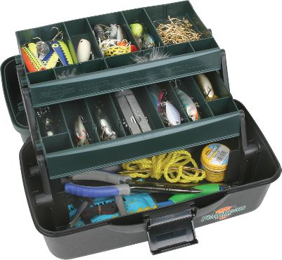 "Fishing This two-tray tackle box offers versatility at an affordable price. The Two-Tray Tackle Box features a Drawtite latch for a secure closure. A Tip-Guard tray protects against mishaps. Wormproof, water-resistant and recycled composite construction. Tongue-and-groove construction between lid and base for a water-tight and precise fit. Removable dividers for organizing and customizing your essential gear. Varied tray depth for greater capacity options. Dimensions: 13-1/2"" x 8-1/2"" x 7-1/2"".Color: Green/Black. - $9.88"