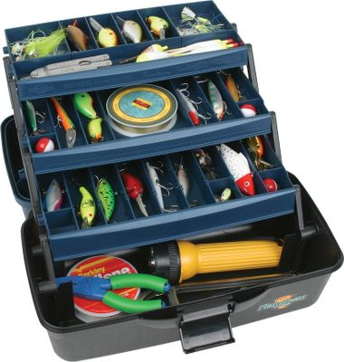 Fishing This three-tray tackle box offers versatility at an affordable price. The Three-Tray Tackle Box features a Drawtite latch for a secure closure. A Tip-Guard tray protects against mishaps. Wormproof, water-resistant and recycled composite construction. Tongue-and-groove construction between lid and base for a water-tight and precise fit. Removable dividers for organizing and customizing your essential gear. Varied tray depth for greater capacity options. Dimensions: 15-1/2 x 8-3/4 x 8-1/4 . Color: Blue/Black. Color: Blue/Black. - $14.99