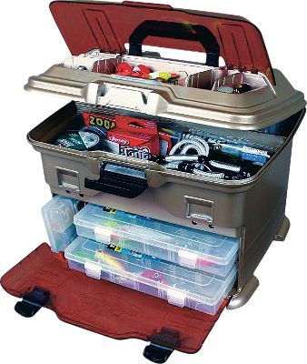 Fishing Flip-open top for fast access to storage compartments. Impact-resistant, see-through lid and front door. Offers two top-loading 4007 Tuff Tainer boxes. T4P has four line dispensing ports, five Tuff Tainer boxes, one 1002 and two 3003 boxes. Dimensions: 13-3/4H x 12W x 10-3/4D. - $34.99