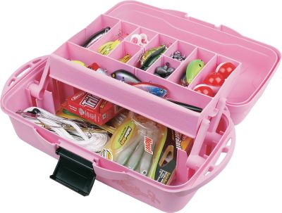 Fishing A compact, weather-resistant tackle box that helps support a worthy cause. A portion of the proceeds from the sale of this pink tackle box is donated to The National Breast Cancer Foundation to aid in research for a cure. The tackle box features a Drawtite latch to securely keep it closed. Tip-Guard tray supports prevent it from tipping over when fully open. Removable dividers enhance storage options. Varied tray depth increases overall capacity. Molded-in tool holders on the sides. Size: 1 TRAY. Color: Pink. - $7.88