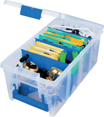 Fishing An extra-strong polymer plastic utility box outfitted with Zerust technology to prevent rust and corrosion. The large size makes this box great for larger lures, line spools and fishing tools. Translucent design lets you view the contents without opening. Three removable dividers. Made in USA. Dimensions: 6.25H x 8W x 15L. Size: 1. Color: Translucent. - $14.99