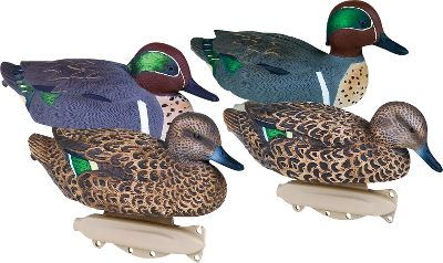 Hunting Flambeau Storm Front Blue-Winged Teal Duck Decoys innovative new keel design with four tie-off points gives them added motion on windy days, while a depth-adjusting eyelet provides simple water-depth changes without excess decoy line. Strap weight secures between keel and body for easy setup and takedown. Durable, polymer blend gives them a super-tough feel and excellent paint adhesion for long-lasting performance.Includes two active drakes, two resting drakes, a resting hen and surface feeder hen.Per 6. Type: Blue-Wing Teal Decoys. - $35.88
