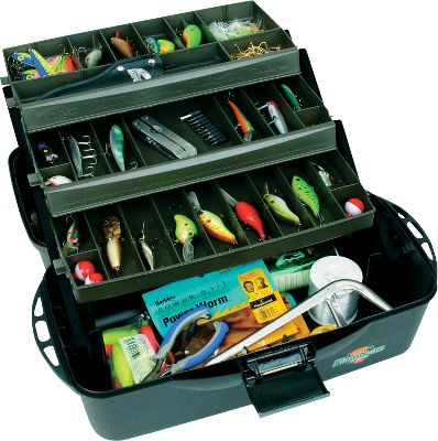 Fishing With the removable dividers and varied tray depth in this all-weather tackle box, you can create up to 37 custom-sized compartments to fit all your essentials and then some. Featuring a Drawtite latch, Tip-Guard tray supports and made of wormproof materials. Handy rails for hanging tools and lures. The tongue-and-groove construction between the lid and base creates a water-resistant, precision fit. Manufactured using recycled materials.Dimensions: 10.4H x 20W x 10.3D.Color: Olive Green/Black. - $19.88