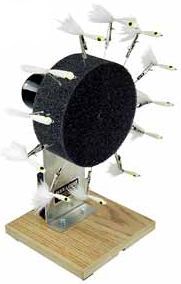 "Flyfishing The Flex Coat Cordless Fly Jig Turner Big Wheel is a cordless unit with a big 5"" foam disk that includes 12 pin clips. The 7 RPM motor (made in the USA) has an on/off switch and is powered by 4 AA batteries (not included). - $69.99"
