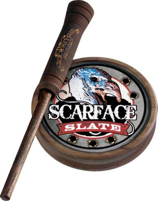 Hunting The unique pot design, made from walnut, fits fingertips perfectly. The loud, pure turkey sounds produced by these calls will scream through even the windiest of days and will cover hundreds of yards. Darker color maintains concealment in the field. Made in USA. Available: Scarface Slate. Color: Walnut. - $37.88