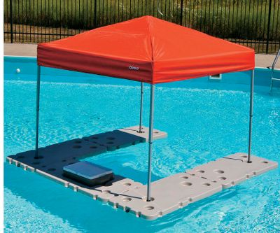 Camp and Hike The ultimate accessory for pool and lake parties, this floating bar provides a dry surface for food and beverages while keeping the suns rays off your back. Package includes four connectible table sections, one connectible cooler float section, and one 6-ft. x 6-ft. canopy. Can be upgraded with additional floating sections (sold separately). Cooler section fits 25- or 33-qt. Coleman Party Stacker cooler (not included). Durable HDPE construction. Custom storage bag included. Made in USA.Fully assembled dimensions: 8L x 8W. - $499.99