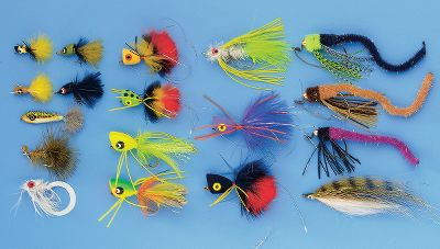 Flyfishing Few things in life are as exciting as battling a big bass with a fly rod and this assortment has patterns to improve your chances of success. Fly box included.It includes one each of the following: Bass Omatic, Chartreuse (size: 4), Class 4 Twister, White (4), Prop Terrorizer, Olive (4), Trash Skimmer Baby Bass (1), Worm Slider, Black (1/0), Worm Slider, Brown (1/0), Worm Slider, Purple (1/0), Chewy Pop Foam Popper, Black (2), Chewy Pop Foam Popper, Yellow (2), Chewy Pop Foam Popper, Purple (2), Chewy Pop Foam Popper, Frog (2), Hard Popper, Tequila (4), Hard Popper, Fluorescent Chartreuse. (4), Panfish Diver, Black (8), Panfish Diver, Green (8), Panfish Popper, Bee (10), Panfish Popper, Yellow (10), Floating Minnow, Rainbow/Trout (4). - $56.99
