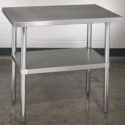 Entertainment Industry-leading durability and commercial-grade sterility make this stain-, smell- and wear-resistant table a versatile, top-of-the-line addition to your at-home workspace or shop. Razor-sharp knives, heavy mallets and rolling pins, red-hot pans and skillets nothing hurts this table. 16-gauge stainless steel table top with rounded edges. Sturdy, corrosion-resistant galvanized legs and built-in undershelf. Adjustable feet adapt to uneven surfaces. Height: 35-3/4. Table top dimensions: 27L x 38W. Color: Stainless Steel. - $104.88