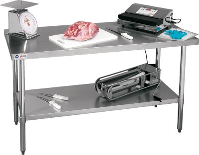 Entertainment Get food-prep work done cleanly and efficiently using this commercial-grade table. 18-gauge stainless steel top keeps food processing sterile with its easy-to-clean surface and offers years of durable use. Straight-edge surface. Galvanized legs and undershelf. Adjustable feet adapt to uneven surfaces. Dimensions: 60L x 24W x 35-34H. Weight: 63 lbs. Color: Stainless Steel. Type: Tables. - $154.88