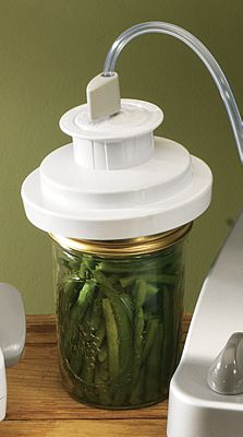 The FoodSaver Wide-Mouth Jar Sealer fits on Ball and Kerr Mason jars and works with FoodSaver vacuum sealer systems to keep goods fresh longer. Great for liquids, fragile foods and dry goods like brown sugar, spices, dried fruit and coconut. FoodSaver Wide-Mouth Jar Sealers replace standard Mason-jar lids to create a vacuum seal that locks out air, the enemy of freshness. Not to be used for canning. Color: Brown. - $9.99