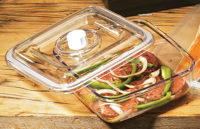 Use the Marinating/Storage Canister to marinate meat and fish in minutes instead of hours. The unique vacuum-packing process opens the pores of the meat to let the marinade penetrate faster and deeper. Great for storing food or non-food items alike. Size: 2-1/4-quart. - $24.99