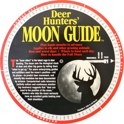 Hunting Spin the weatherproof, pocket Moon Dial from Aug. 1 through Jan. 31 to know when and where (feeding, bedding, travel corridors) to hunt each day. - $7.88