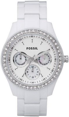 Entertainment Add some sparkle to your look with the dazzling Fossil Stella Watch. Glittering clear crystals outline the bezel. Three blue mother-of-pearl subdials display day, month and hour. White resin watch band. Water-resistant down to 50 meters/five atmospheric pressure. 11-year limited manufacturers warranty. Imported. Case size: 37.5mm. Case thickness: 11mm. Band width: 18mm. Size: 37. Color: White. Gender: Female. Age Group: Adult. - $95.00