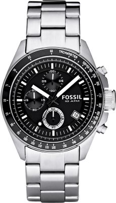Entertainment Fossils Decker Stainless Steel Watch tells the world its wearer means business when it comes to adventure. The striking chronograph dial rests inside a stainless steel case. Water-resistant to 339 ft. 11-year limited warranty. Case dia: 44mm. Color: Black. Color: Black. Gender: Male. Age Group: Adult. - $114.88