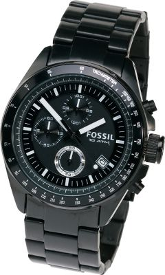 Entertainment The Fossil Decker Black Chronograph Dial Watch exudes a spirit of class and style. Black chronograph dial with luminescent indexes allows night visibility. Brushed, ion-plated stainless steel bracelet gives the watch a handsome appearance. Stainless steel case is water-resistant up to 90 meters. Manufacturers 11-year limited warranty. Imported. Case diameter: 44mm. Color: Black. Gender: Male. Age Group: Adult. Type: Analog Watches. - $124.88