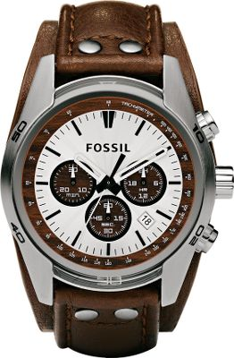 Entertainment You can dress up or down with this stainless steel Fossil watch and its brown, genuine leather strap. Silver-tone studs secure the band to the watch head, giving it both a sporty and sleek look you can pull off whether youre in the office or at the range. The tan dial features wood accents and the second- and minute-chronographs movement adds extra functionality. Water-resistant to 10 meters. 11-year limited warranty. Imported. Case diameter: 45mm. Case thickness: 12mm. Color: Stainless steel. Gender: Male. Age Group: Adult. Material: Leather. - $125.00