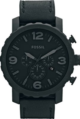 Entertainment Add some style to your wrist with this matte-black stainless steel Fossil watch. A classic black leather strap and grey indexes add instant polish to any look. Water-resistant to a depth of 10 meters. Imported. Case diameter: 50 mm. Case thickness: 13 mm. Band width: 24 mm. Color: Black. Gender: Male. Age Group: Adult. Material: Leather. Type: Analog Watches. - $145.00