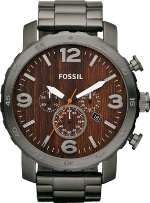 Entertainment This rugged and organic brushed smoke watch features a stainless steel bracelet strap and wood-inspired dial. It adds instant polish to any look. Water-resistant to a depth of 10 meters. Imported.Case diameter: 50mm.Case thickness: 13mm.Band width: 24mm. - $129.88