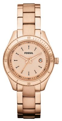 Entertainment Enriched with rose gold-tone hues on stainless steel, this version of Fossils most iconic watch appeals as much as an eye-catching accessory as it does a functional timepiece. Water-resistant to 10 meters. Manufacturers 11-year warranty. Case diameter: 30mm. Gender: Women's. Type: Analog Watches. - $104.88