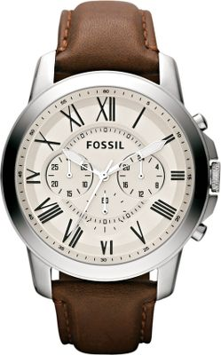 Entertainment Inspired by the simplicity of vintage timepieces, the Fossil Grant Vintage Watch has a classic appeal with Roman numerals set against a cream dial. The soft-brushed stainless steel body is handsomely accented by a smooth, brown leather band. Water resistant to approximately 50 meters. Limited 11-year manufacturers warranty. Imported. Case diameter: 44mm. Color: Brown. Gender: Male. Age Group: Adult. Material: Leather. - $115.00