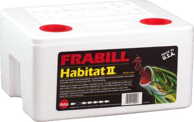 Fishing The FrabillHabitat II Worm Containerkeeps your worms alive and squirming. This insulated worm container features two molded aeration holes that provide fresh air to worms. Comes complete with Super- Gro Worm Bedding. Dimensions: 13L x 10-1/2W x 7D. - $12.99