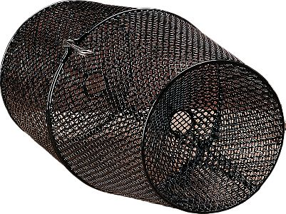 Fishing This mesh minnow trap is designed with vinyl-coated steel mesh for lasting durability. It works well in calm water or in currents, and the black color blends into the environment. Measures: 16-1/2 long with 1 opening. Color: Black. - $9.99