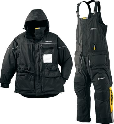 Fishing Premium outerwear system engineered for hard-core ice anglers. Rugged, waterproof, windproof, breathable shell offers full seam-sealed protection. Both have fleece-lined handwarmer pockets and oversized cargo pockets with dual drain holes. Suit includes jacket and bibs. Jacket has core-warming 180-gram thermal insulation in the body and 120-gram in the sleeves. Ice-angler-friendly highlights include a custom tackle-box pocket with flip-down Sherpa fleece hook pad, fully articulated elbows, 360 reflective piping for nighttime safety, adjustable neoprene sleeve cuffs, and internal pockets for sunglasses and electronics. Bibs have 120-gram thermal insulation throughout. Fully adjustable shoulder straps. Full-length ankle-to-hip leg zippers. Top-of-leg zipper vents. Durable padding in knees and seat. Reinforced knees and cuffs. Imported.Sizes: M-2XL.Color: Black. - $399.99