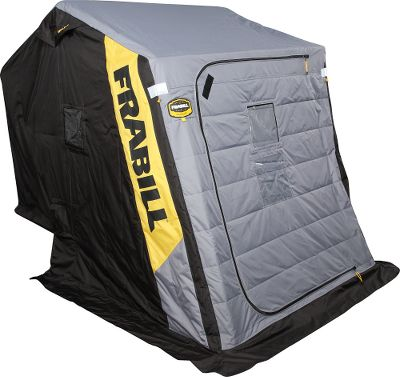 Fishing The R2-Tec Thermal Guardian Ice Shelter, with its Norpac R Extreme Outdoor Fabric with Thinsulate FR Insulation and a MaxVent air exchange system, puts you in control of your comfort. This 600-denier, cold-weather tent has extra polyurethane coatings and is fire retardant to CPIA-84 standards. It has front and rear doors with heavy-duty zippers. Its extra-tough, thermo-formed base and a 7/8 aluminum frame withstand aggressive winds. Shelter is big enough to fit up to three anglers with gear. Comes with two padded swivel seats. Imported.Fishable area: 56L x 66W. Dimensions: 96L x 66W x 75H. - $859.99