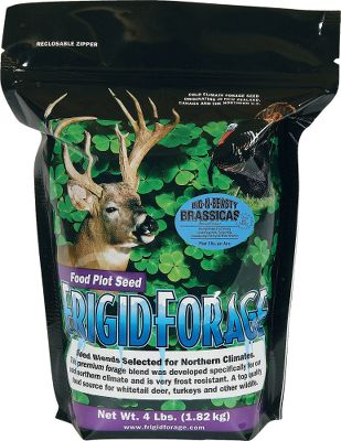 Hunting A high-protein, large and leafy annual blend of rapes, sugar beets, forage turnips and daikon radishes. Formulated to provide several tons of forage and sweeten after a hard frost. After the leaves are gone, there are plenty of turnips and radishes for deer to dig out. Perfect for helping deer survive the winter post-rut period. Plant mid- to late summer for best results. Prefers full sun in moist but well-drained soil.Available: 4-lb. bag plants 1 acre, 8.5-lb. bag plants 2 acres. - $39.99