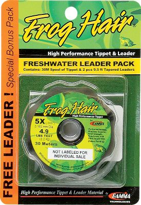 Flyfishing Frog Hair leader and tippet material offers the combination of high strength, ultra suppleness and built-in shock resistance. The unique blending gives you a line that provides maximum fish-fighting ability. The Two-Leader and Tippet Pack comes with one 30-meter spool of tippet and two 9-1/2-ft. leaders in corresponding size. Sizes: 6X, 5X, 4X, 3X. Size: 5X. Type: Leader and Tippet Combos. - $13.99