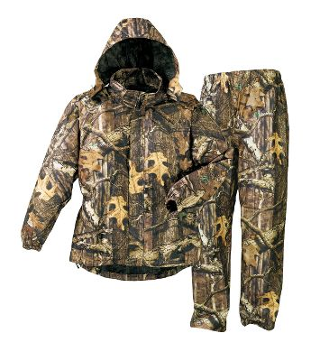 Hunting Powerful rain protection without the bulk. Pack an All-Purpose HD Rain Suit from Frogg Toggs and kiss your rain-checking days goodbye. Features a roomy jacket with a hood that attaches into the collar with snaps use it when you need it or collapse it down into the slit pocket in the collar. The full-length zipper is covered by a snap-close storm flap to keep wind and rain out. The pants have an elastic waist with barrel-pull drawstring and hook-and-loop closures at the cuffs. This rainwear has three layers of polypropylene with a center layer of microporous film. The fabric has pores that allow vapor to escape. These pores are 20,000 times smaller than a drop of water, so rest assured that water cant enter the suit. For added durability, the seams have been redesigned and are stronger than ever. Imported. Sizes: M-2XL. Camo patterns: Realtree XTRA, Mossy Oak Break-Up Infinity. Size: XL. Color: Realtree Xtra. Gender: Male. Age Group: Adult. Type: Rain Suit. - $62.88
