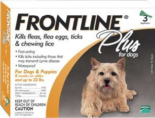 Hunting Frontline Plus is the No. 1 choice of veterinarians for flea and tick control. It provides long-lasting, effective control of fleas and ticks on your dog as well as in your home. Not only does Frontline Plus kill up to 100% of adult fleas on your pet within 24 hours, it also contains a special ingredient that kills flea eggs and larvae to keep all stages of fleas from developing and bothering your pet and your family. Frontline Plus remains effective for a full 30 days, even after bathing, swimming or UV exposure. Research demonstrates that a monthly application kills fleas, flea eggs and flea larvae for up to three months and kills ticks for at least one month. It can be used to control sarcoptic mange. Treatment is gentle enough for use on puppies eight weeks of age or older. Apply once per month to a single spot on your dog, between the shoulder blades. Each package includes a three month supply. Frontline Plus is available in four dosing sizes according to the weight of your dog: up to 22 lbs. 23-44 lbs. 45-88 lbs. 89-132 lbs. Size: 45-88 LBS. Type: Flea and Tick. - $49.99
