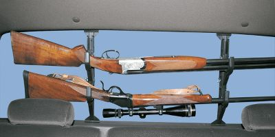 Hunting Made of molded, super-strong copolymer plastic, this rear-window-mounted rack holds two guns or a pair of fishing rods in soft, vinyl-padded clips. It installs and removes quickly without tools. Adjusts from 9-5/8 to 18-1/2 and is able to withstand both hot and cold temperature extremes. - $19.99