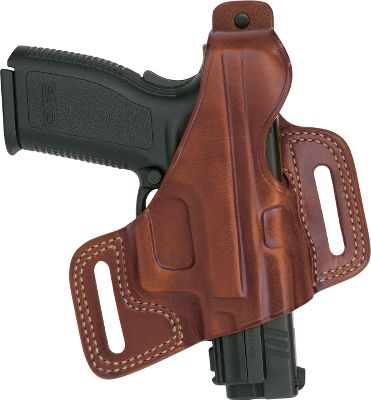 A high-ride holster thats the perfect blend of comfort, concealment and accessibility. The Silhouette holster features an open-muzzle design that accepts barrels of varying length. Top-quality, lightweight construction. The premium tan saddle leather is hand-molded for a flawless fit with the specified handgun models. Seams are double-stitched for durability. Fits belts up to 1-3/4 wide. Available: XD 9mm./.40 Glock 17/19/22/23 1911 and clones Color: Tan. - $74.99