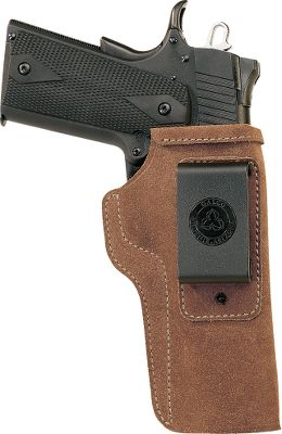 Open top allows a fast draw, while the reinforced mouth ensures a smooth return to the holster. Fits inside pants and is supported by an injection-molded nylon clip that locks holster onto any 1-1/2 belt. Carries your handgun in a vertical position and can be worn strong side, crossdraw or in the front of the hip. Constructed of premium steerhide. Made for semiautomatic pistols and double-action revolvers. Right hand only. Type: Concealed Carry. - $29.99