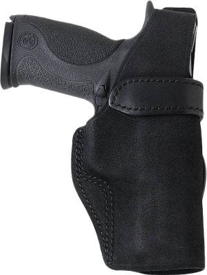 "An exceptional combination of workmanship, price and performance. Part of the Galco Carry Lite line, the Wraith is constructed of premium center-cut Steerhide and fits belts up to 1-3/4"". Made for semiautomatic pistols and double-action revolvers. Thumb break retention strap that allows for a quick draw. The reinforced mouth facilitates a simple one-handed return to the holster. The butt channel provides a slight butt-forward cant for concealment and quick, resistance-free draw. Black finish. Right hand. - $28.99"